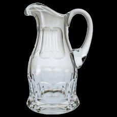 Moser Glass Adele Melikoff Water Jug Clear Faceted Signed Mark Large  - 20th Century, Czechia