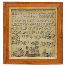 1811 Sampler Camel Parrot Lyre Birdseye Maple Needlework Sampler Alphabet Antique