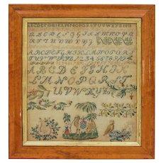 1811 Sampler Camel Parrot Lyre Birdseye Maple Needlework Sampler Alphabet Antique