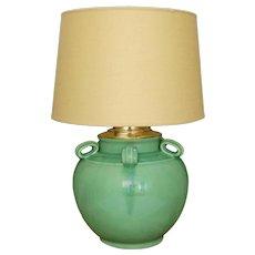 American Retro Turquoise Jade Green Pottery Lamp Base MCM