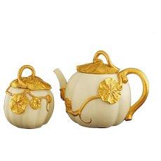 Royal Worcester Pumpkin Set Tea Pot and Sugar Bowl - 1888 / 1889 date cipher, England