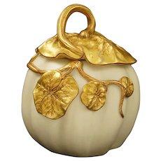 Royal Worcester Pumpkin Antique Lidded Sugar Bowl Porcelain - 1888 date cipher, England