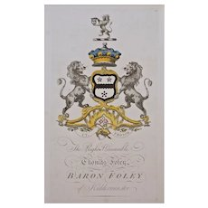 Foley Armorial Engraving Coat of Arms Hand Colored Matted Framed Large