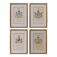 Set 4 English Armorial Engravings Coat of Arms Hand Colored Matted Framed Large