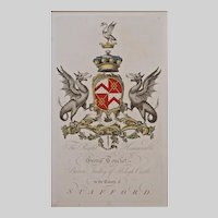 Audley Armorial Engraving Coat of Arms Hand Colored Matted Framed Large