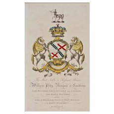 Petty Armorial Engraving Coat of Arms Hand Colored Matted Framed Large