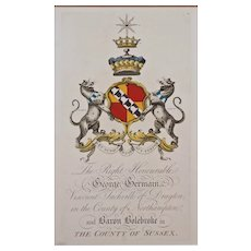 Germain Armorial Engraving Coat of Arms Hand Colored Matted Framed Large