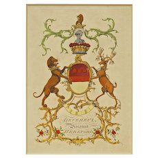 Devereux Antique Armorial Engraving Viscount of Hereford Coat of Arms Hand Colored Matted Framed