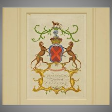 Antique Armorial Engraving Fitzgerald Viscount Leinster Coat of Arms Hand Colored Matted Framed