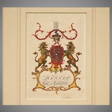Bennet Antique Armorial Engraving Earl of Tankerville Coat of Arms Hand Colored Matted Framed