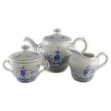 French Longchamp Faience Tea Pot Cream Sugar Set Blue White - 20th Century, France