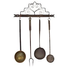 Pennsylvania Wrought Iron Wall Rack and Kitchen Utensils Folk Early Americana - circa 19th Century, USA