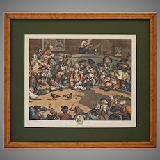 Pit Ticket after Hogarth Engraving Royal Sport Maple Frame Cock Fight Rooster