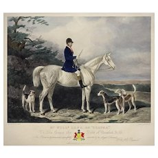 English Hunt Engraving William Long on Bertha Duke of Beaufort Badminton Framed