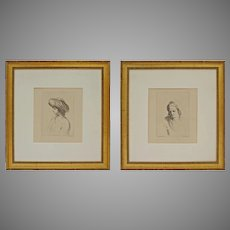 After il Guercino Pair Etchings Boy Turban Man Fur Hat Matted Framed Italian Baroque Style