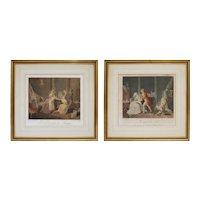 Pair Antique French Genre Etchings Motherhood after Vangorp Bonnet Malles - circa late 18th C., France