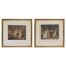 Pair Antique French Genre Etchings Parenthood after Vangorp Bonnet Malles - circa late 18th C., France