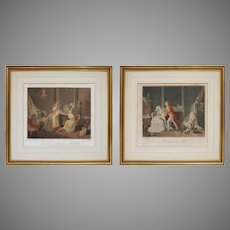 Pair Antique French Genre Etchings Parenthood after Vangorp Bonnet Malles - circa late 18th C., France