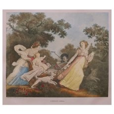 Pair Rococo Motherhood French Etchings Inscribed Fragonard Gerard Pinx Sculp