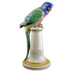 "Large 10 13/16"" Parrot Macaw Porcelain Figure on Plinth 5274 Karl ENS Thuringia - pre 1919 mark, Germany"