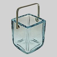 Ice Bucket by Strombergshyttan Square Blue Crystal Silver Plate Handle - 20th Century, Sweden