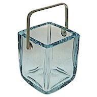 Ice Bucket by Strombergshyttan Square Blue Crystal Silver Handle - 20th Century, Sweden