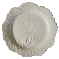 Wedgwood Majolica White Leaf Plate Matte - post 1940, England