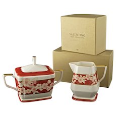 Luxury Valentino Home Collection Spring Pattern Cream Sugar Boxed Porcelain Set