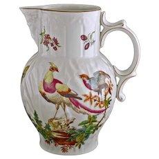 Large Mottahedeh Chelsea Bird Pitcher Vista Alegre Porcelain - 20th Century