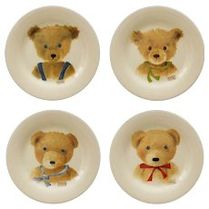 4 French Gien Bear Plates Boxed Set Child - 20th Century, France