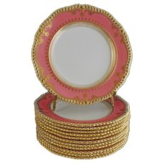 Set 12 Hot Pink Art Deco Gadrooned Border Copeland Spode Y 482 A Porcelain English Plates - c. 1920's, England