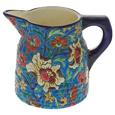 French Longwy Art Deco Style Enamel Art Pottery Pitcher Faience Majolica Pichet - c. 1900-1955 mark, France