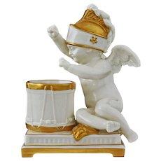 Mottahedeh Drummer Cherub White Figurine Porcelain Gilt - 20th Century, Italy