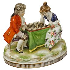 Child Chess Player Porcelain Group Figurine Volkstedt Blue Crown Mark -  1915 - 1934, Germany