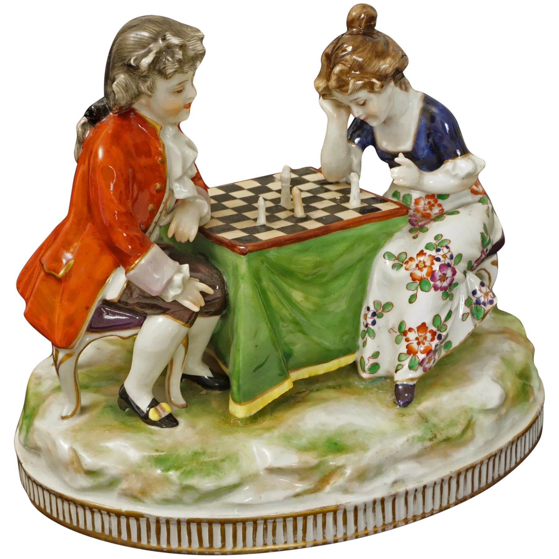 Child Chess Player Porcelain Group Figurine Volkstedt Blue Crown Mark -  4 - 4, Germany