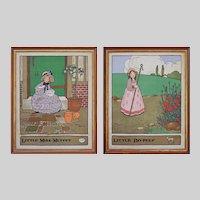 Pair Nursery Rhyme Arts Crafts after Gordon Robinson Children Illustrations Framed Chromo Lithographs
