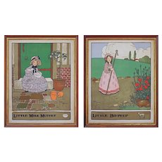 Pair Nursery Rhyme Arts Crafts after Gordon Robinson Children Illustrations Framed Chromo Lithographs