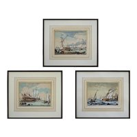 "18th C Dutch Bakhuizen Ship Etchings from ""The River Ij and Seascapes"" Series - c. 18th Century, The Netherlands"