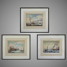 """18th C Dutch Bakhuizen Ship Etchings from """"The River Ij and Seascapes"""" Series - c. 18th Century, The Netherlands"""