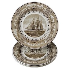 """Set 4 Wedgwood """"The American Clipper Ship"""" Series Brown Transferware Plates - c. 1938, England"""
