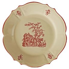 Grape Harvest French Provincial Faience Plate Moulins des Loups Transferware Pink