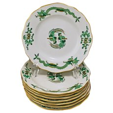 Set 8 Meissen Rich Court Dragon Green Bread Butter Hors d'Oeuvre Plates - 20th Century, Germany