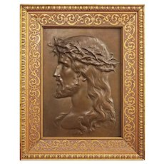 French Jesus Christ Bronze Plaque Portrait Profile Patinated Rectangular Wood Frame Large