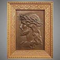 French Jesus Christ Bronze Plaque Portrait Profile Patinated Rectangular Wood Frame Large