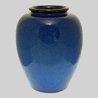 "8 1/2"" Electric Blue Art Deco Style Glazed Art Pottery Monochrome Ovoid Vase"