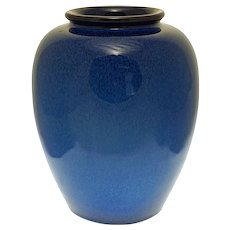 "8 1/2"" Electric Blue Art Deco Style Glazed Art Pottery Monochrome Ovoid Vase"