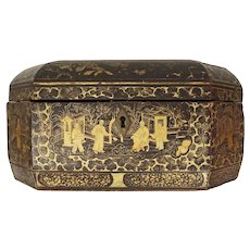 Early Chinese Export Black Gilt Tea Caddy and Containers - c. 1800's, China