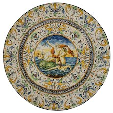Italian Maiolica Faenza Large Wall Plate Charger Plaque Neptune Dolphins