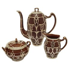 Lenox Sterling Silver Overlay Set Coffee Pot, Creamer, Sugar Bowl Caramel Brown Ceramic - circa 1930's, USA