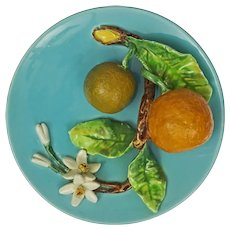 Menton Majolica Trompe l'Oeil Plate Orange Fruit Blossoms France